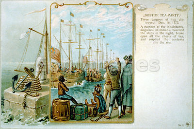 Postcard commemorates Boston Tea Party