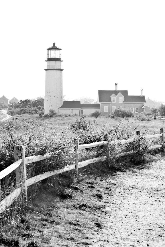 HIGHLAND LIGHTHOUSE NORTH TRURO CAPE COD MASSACHUSETTS BLACK AND WHITE