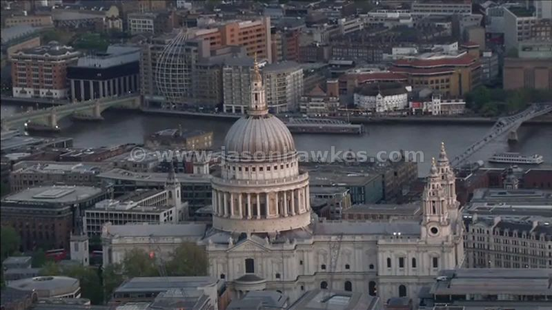 Aerial footage of St Paul's Cathedral, City of London, England, UK