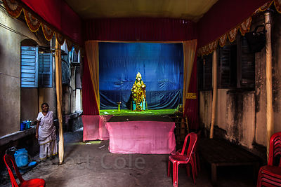 Lakshmi remains after a Durga Puja pandal is disassembled in Bowbazar, Kolkata, India. She will be the subject of her own puj...