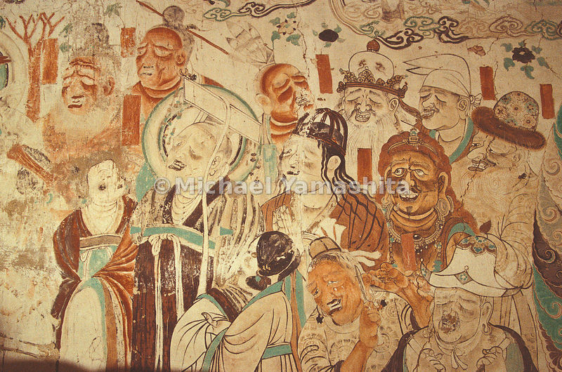 Painting in Magao Cave depicting foreigners morning the death of Buddha.