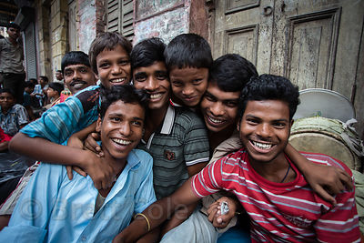 Happy happy people on a street in Bhawanipur, Kolkata, India