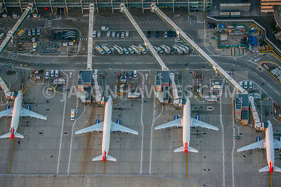 Aerial view of  London Heathrow airport  and aeroplanes