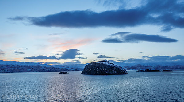 View in fjords after just sunset in Norway