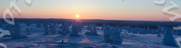 Sun Nears Setting Over Tykkylumi Obelisks