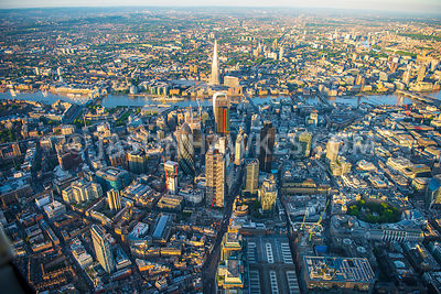 Aerial view of London, River Thames and Square Mile.