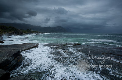 Breaking waves and storm clouds - Hermanus, Western Cape, South Africa