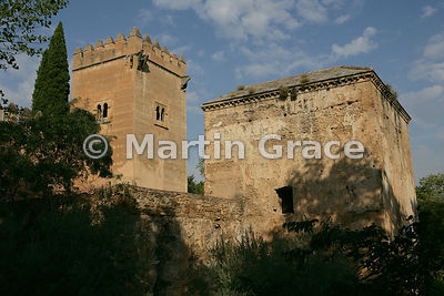 The Spiked Tower (Torre de los Picos) and Bastion in the Alhambra wall from Cuesta de los Chinos, Alhambra, Granada, Spain