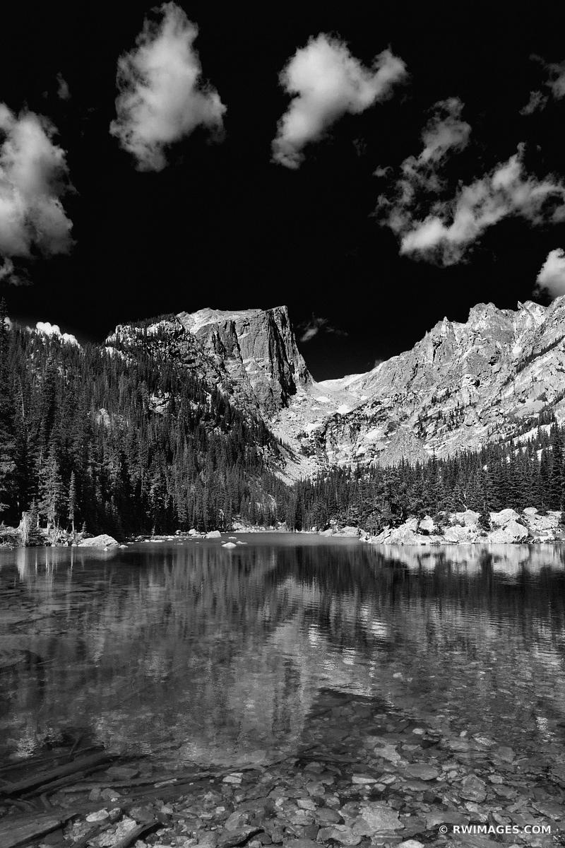 DREAM LAKE ROCKY MOUNTAIN NATIONAL PARK COLORADO BLACK AND WHITE VERTICAL
