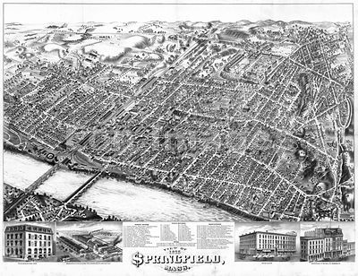 Bird's-eye view of Springfield, MA in 1875