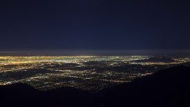 Bird's Eye: Spectacular Moon Set Behind A Vast L.A. Basin/Pacific Horizon