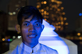 A portrait of a waiter at The Peninsula Hotel in Bangkok, Thailand.