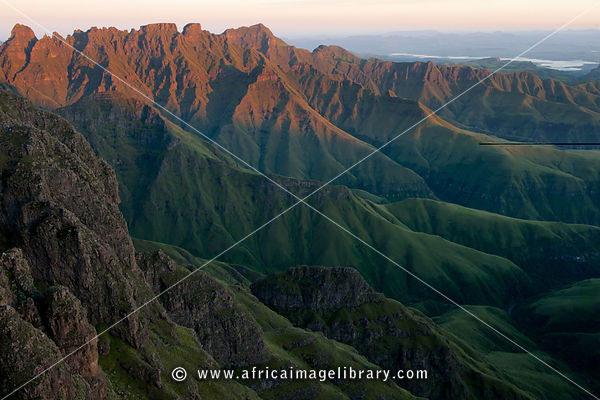 View from the top of Tseketseke Pass at sunrise, Ukhahlamba Drakensberg Park, South Africa