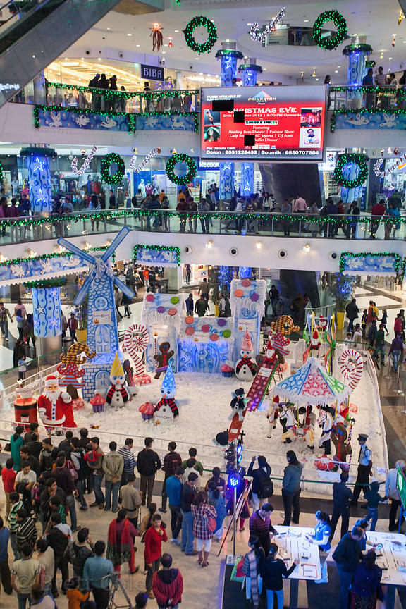 Interior view of South City Mall in Kolkata, India at Christmas, including a diarama with Santa Claus. South City is the larg...