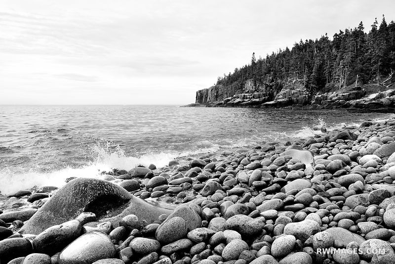 ROUND BOULDERS AT THE ROCKY BEACH OTTER COVE ACADIA NATIONAL PARK BLACK AND WHITE LANDSCAPE