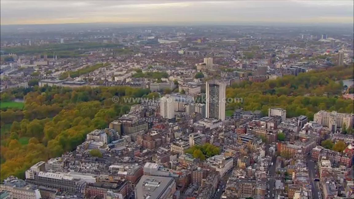 Aerial footage of Mayfair and Belgravia, London