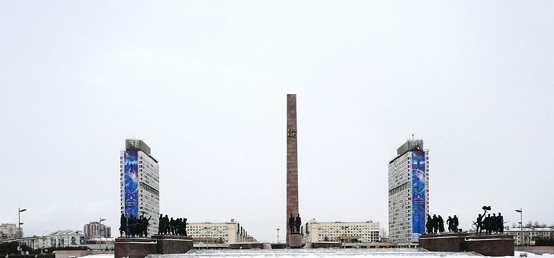 Architect Sergei Speransky's 48 m granite obelisk rises up from broken circular structure that symbolises the eventual breach...