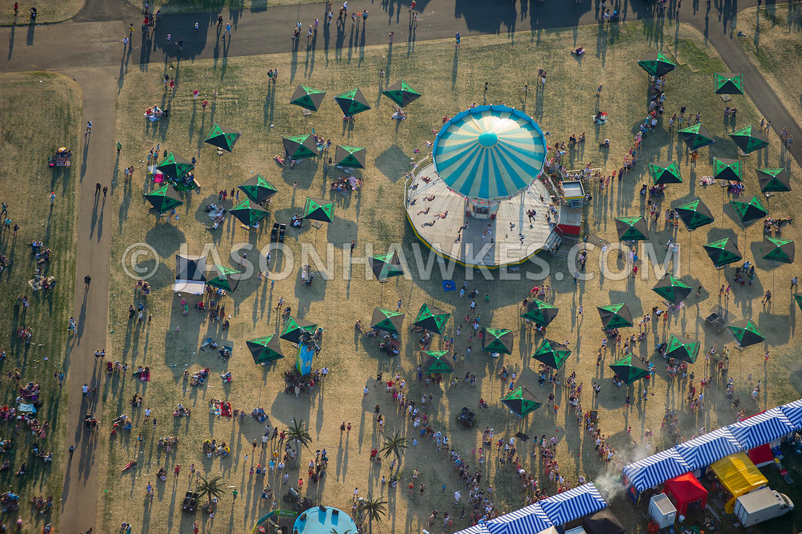 Aerial view of fairground ride in Hyde Park, London