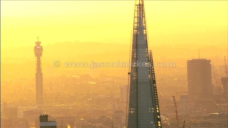 Aerial footage of the Shard at dusk, Southwark, London, England