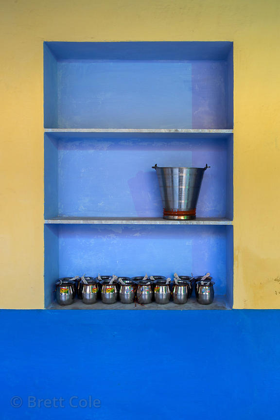Metal drinking water cups still life at a wedding party, Pushkar, Rajasthan, India