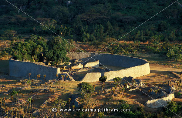 Great Zimbabwe ruins, aerial view of the Great enclosure from the 11th century, Masvingo, Zimbabwe