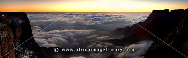 View from the top of the amphitheatre at sunrise, Drakensberg Mountain, South Africa