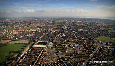 aerial photograph of Terraced Houses in the Anfield   district of  Liverpool Merseyside England UK