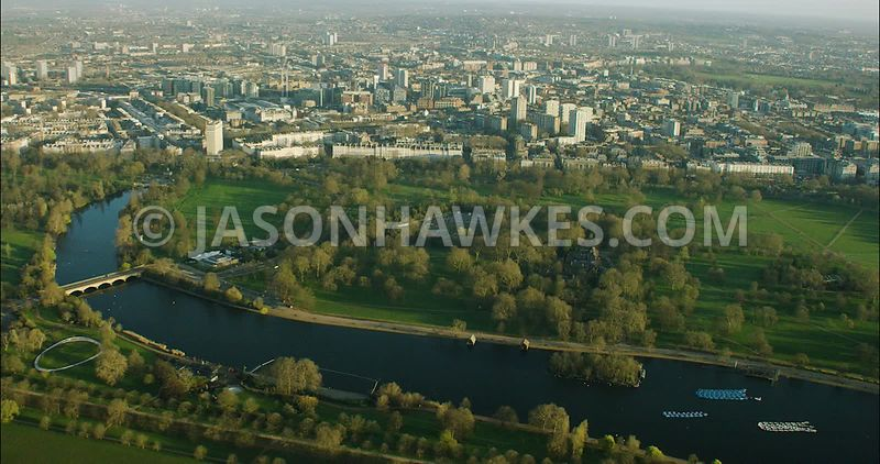 London Aerial Footage of Hyde Park.