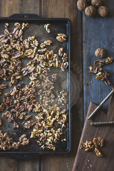 Walnuts mixture in the making of salty maple walnut pie
