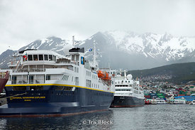 National Geographic Explorer anchored at the port in Ushuaia.