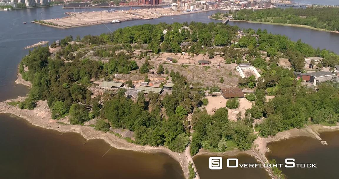 Zoo Island, Aerial Descending Tilt View of Korkeasaari Island, on a Sunny Summer Day, in Helsinki, Uusimaa, Finland