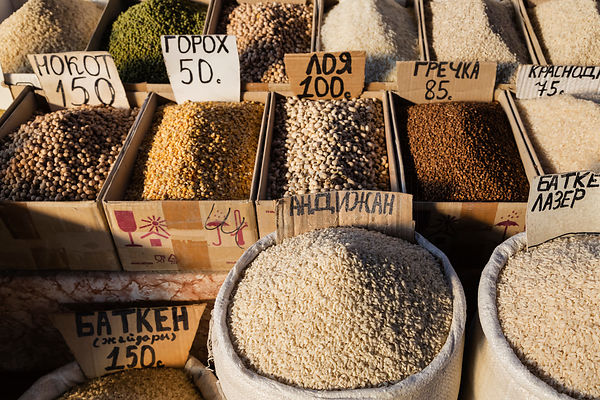Display of Grains at the Osh Bazaar
