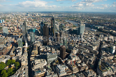 Aerial view of the City of London looking East