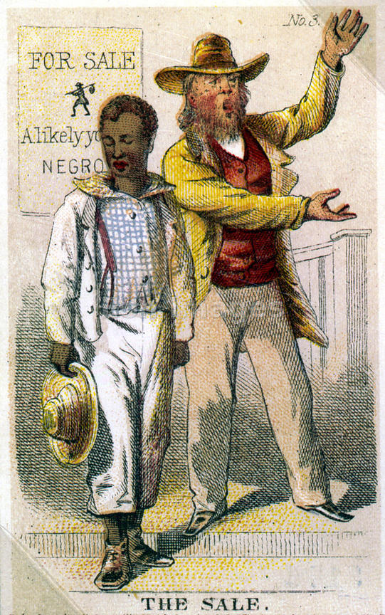 Card depicting the sale of a slave