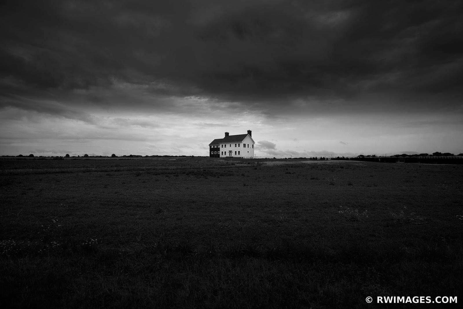 LONE HOUSE STORMY SKIES LONG ISLAND BLACK AND WHITE