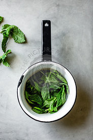 Mint in a saucepan