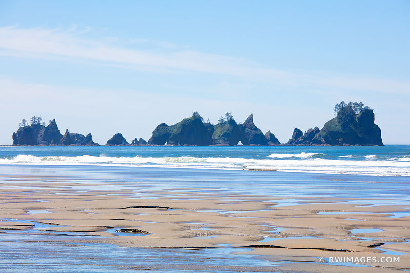 SEASTACKS SHI SHI BEACH POINT OF THE ARCHES PACIFIC NORTHWEST OLYMPIC NATIONAL PARK COLOR