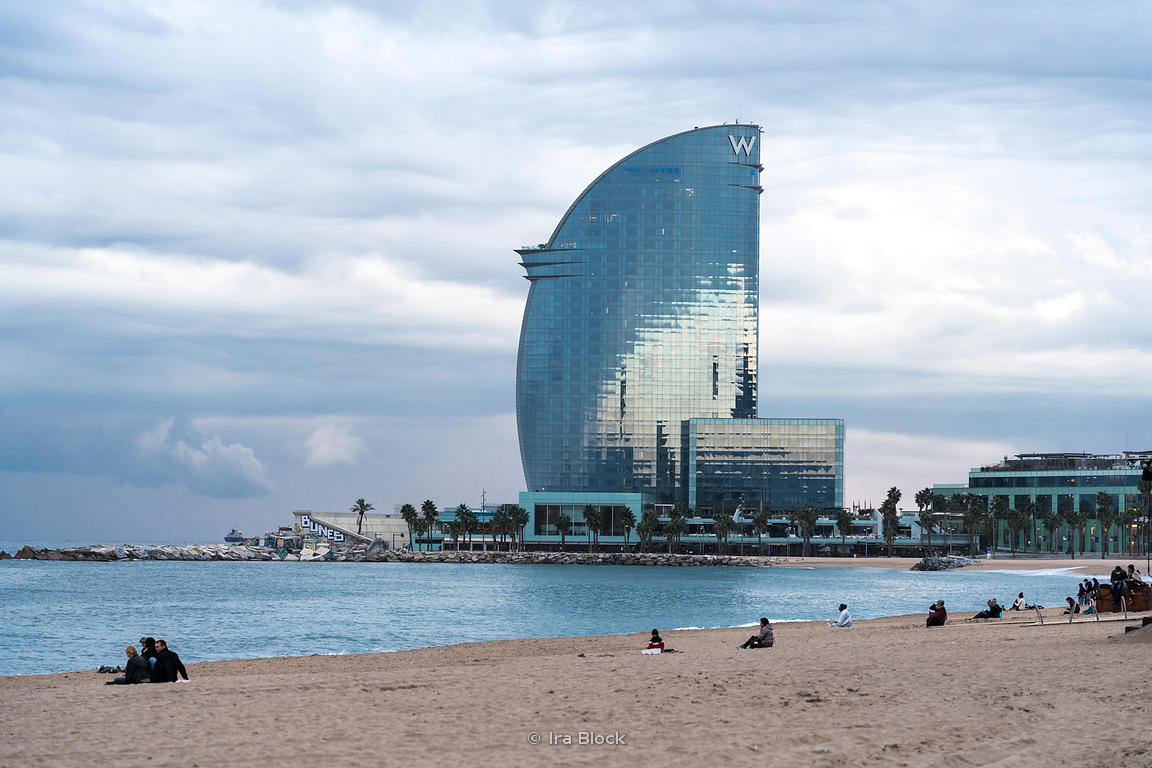 A view of the W Hotel, designed by the architect Ricardo Bofill, on the Barceloneta beach on the port of Barcelona.