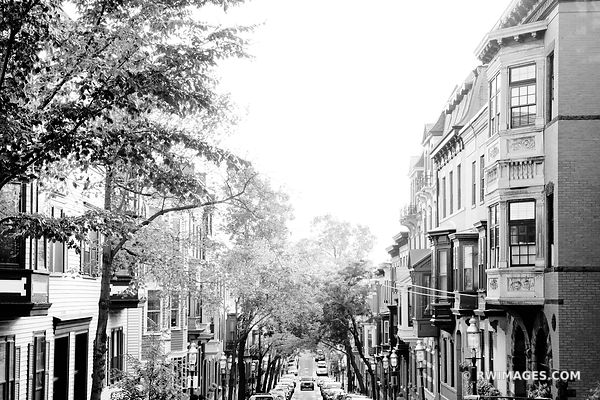 STREET HISTORIC CHARLESTOWN BOSTON BLACK AND WHITE
