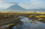 The active volcano Ol Doinyo Lengai at Lake Natron, Tanzania