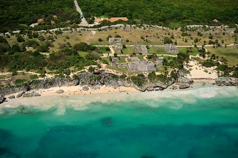 Aerial view of Tulum a Mayan a fortified city of the 10th century located near the sea, Yucatan peninsula, Mexico