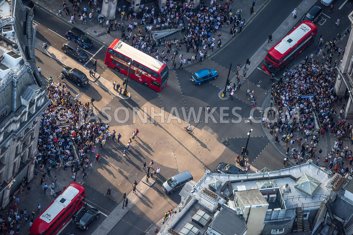 London, aerial view of Oxford Circus