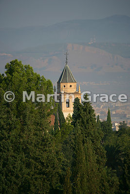 The tower of the Church of Saint Mary of the Alhambra (Iglesia de Santa Maria de la Alhambra), Alhambra, Granada, Spain