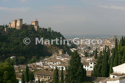 The Alhambra and Granada from Sacromonte (the gypsy quarter), Granada, Andalusia, Spain
