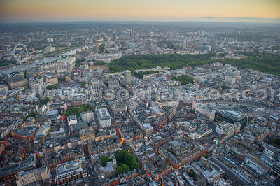 Aerial view of The West End at dusk, London
