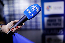 SEHA TV during the Final Tournament - Final Four - SEHA - Gazprom league, Media meeting in Brest, Belarus, 08.04.2017, Mandat...