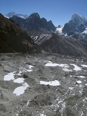 NEPAL Ngozumpa Glacier -- 16 Apr 2005 -- The main Ngozumpa (Gokyo) glacier. Scientists have warned that rising temperatures f...