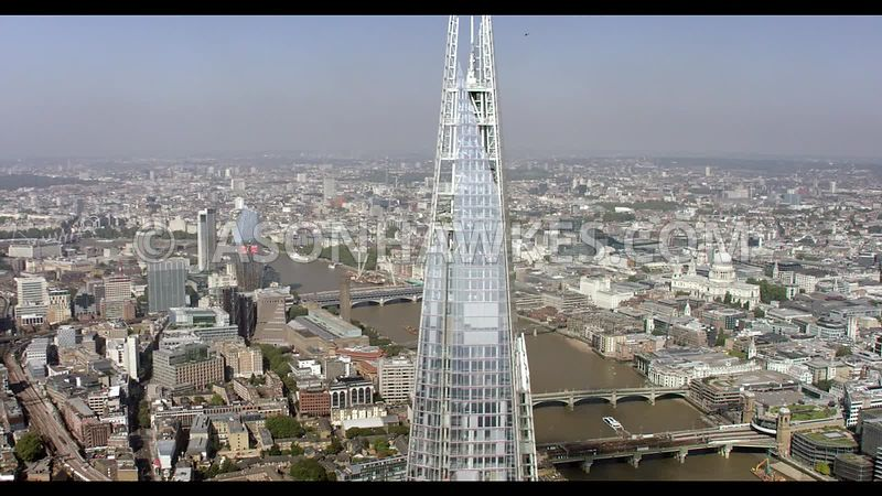 Aerial footage of the Shard, London.
