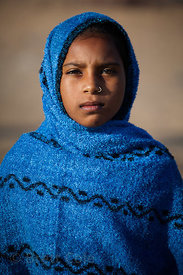 Portrait of a girl in Pushkar, Rajasthan, India.