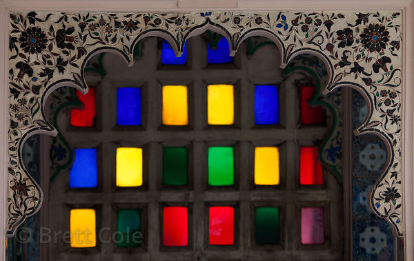 Old stained glass in the Udaipur city palace, Rajasthan, India